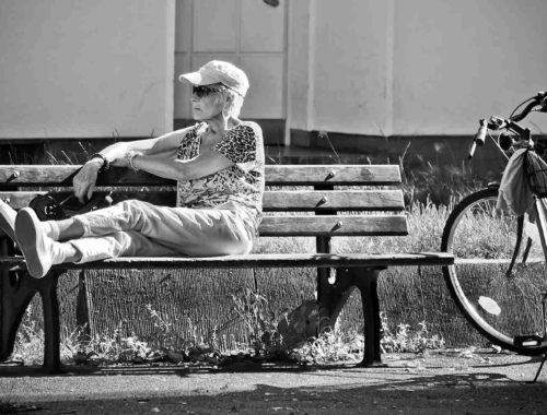 Stadt Frau Fahrrad